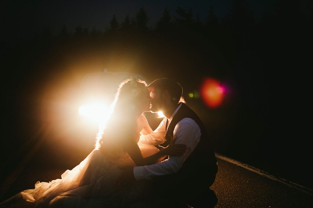 foggy night wedding photos