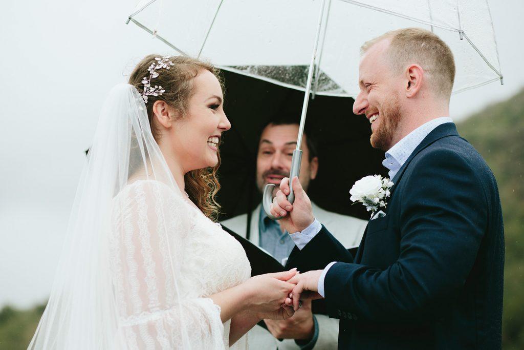 rainy wedding elopement